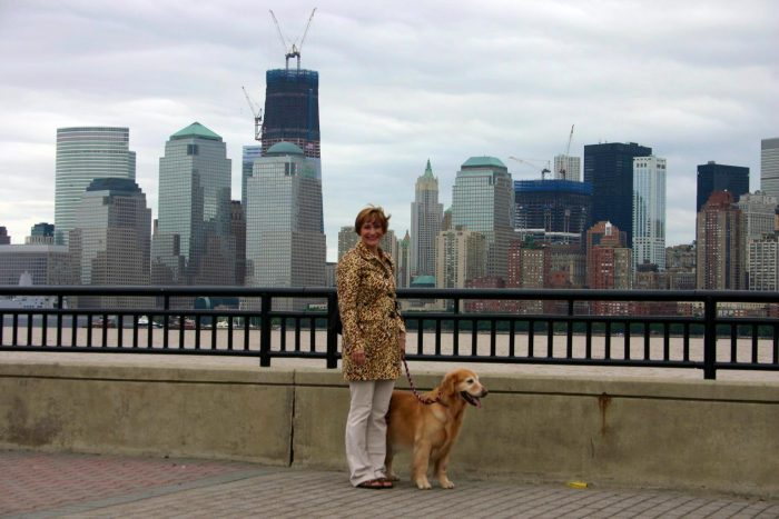 Jackie and Ally the therapy dog in NYC