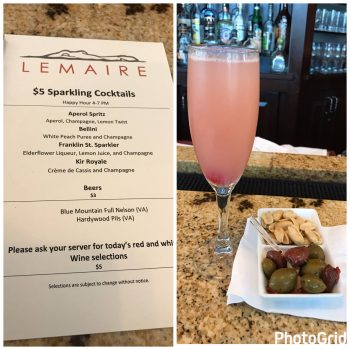 Lemaire Happy Hour Menu with Peach Bellini