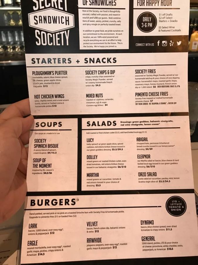 Secret Sandwich Society Menu